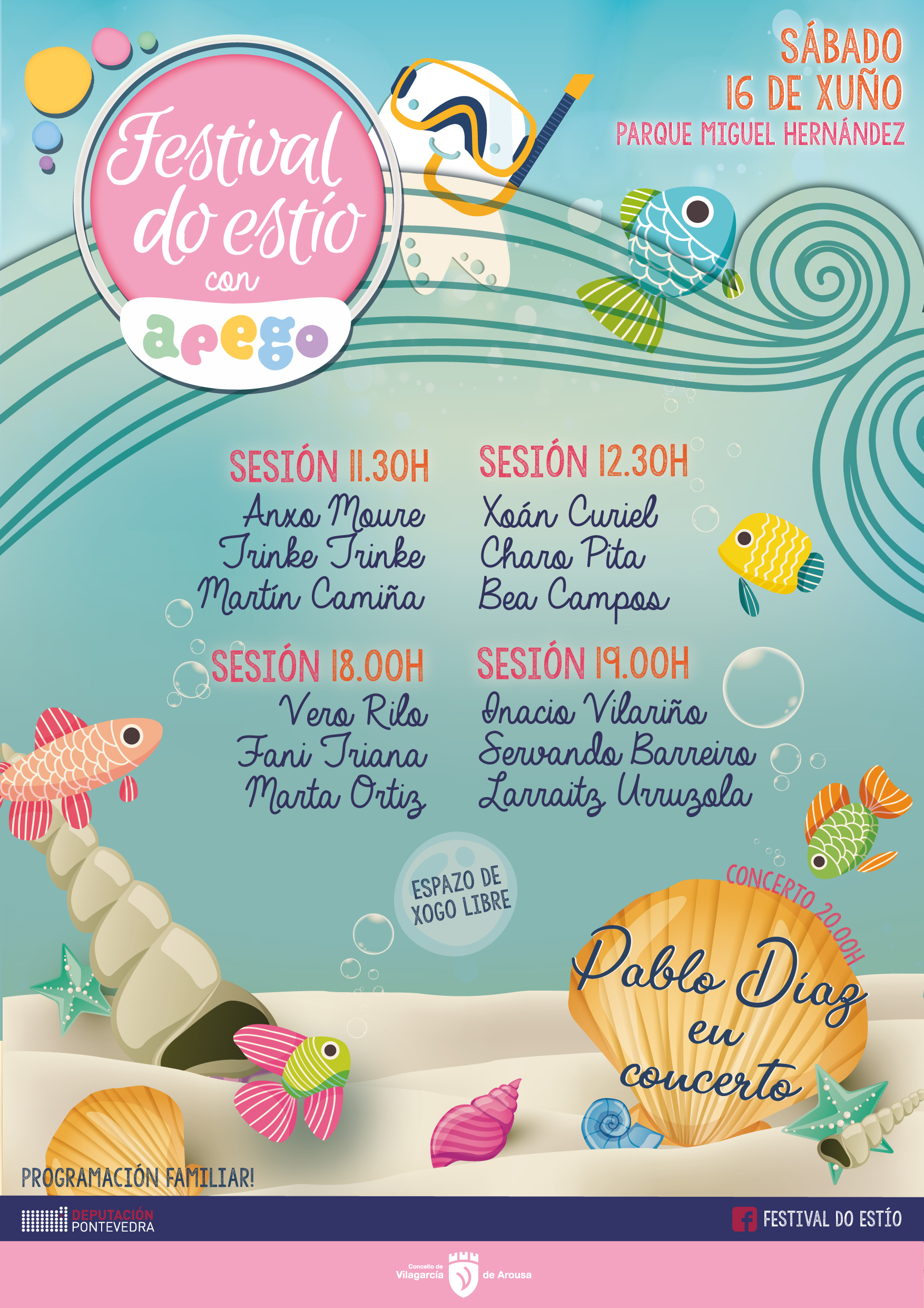 Cartel Festa do estio con Apego 2018